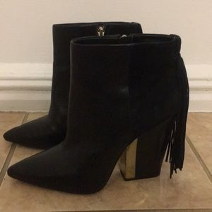Sam Edelman black leather and suede bootie